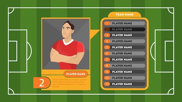 Cartão de perfil de jogador de futebol ou futebol. campo verde