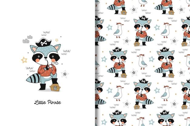 Cartão de personagem de desenho animado bonito pirata guaxinim e padrão sem emenda
