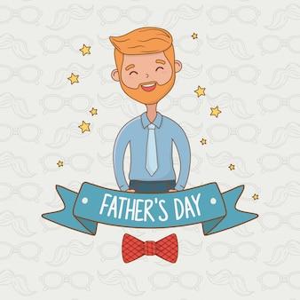 Cartão de personagem pai bonito