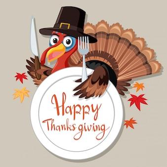 Cartão de peru feliz dia de ação de graças