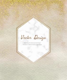 Cartão de pincelada aquarela nua com confete de glitter dourados e moldura hexágono de mármore.