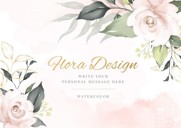 Cartão de plano de fundo aquarela flor elegante. flora de convite de casamento.