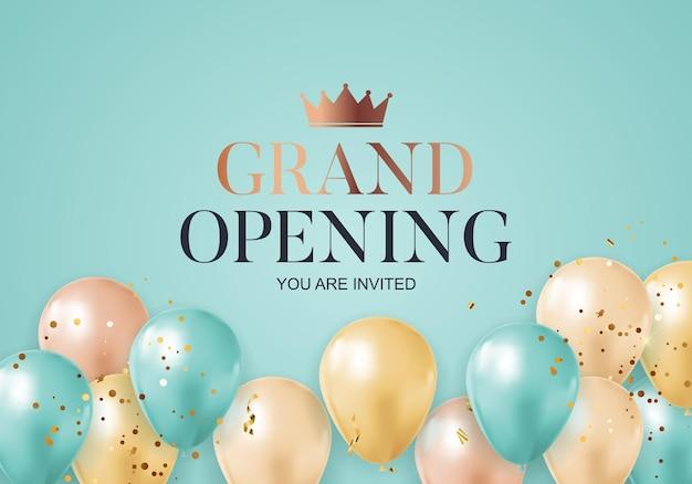 Cartão de plano de fundo de felicitações de inauguração com balões
