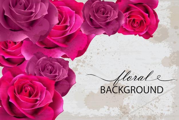 Cartão de plano de fundo floral com rosas fúcsia