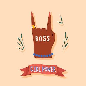 Cartão de poder de meninas em estilo desenhado à mão na moda para mulheres com mão e letras