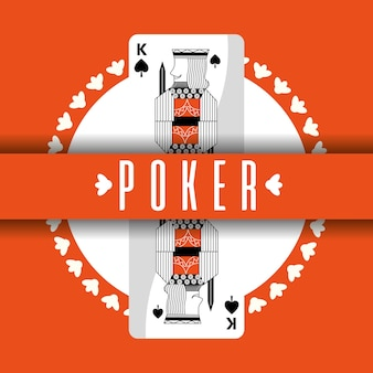 Cartão de poker king spade banner orange background