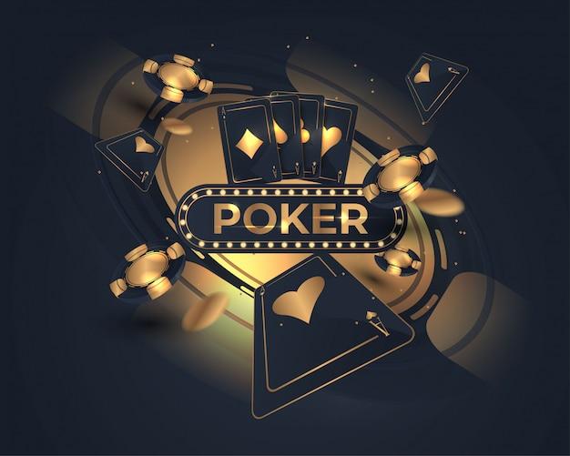 Cartão de pôquer de cassino e design de roda de roleta