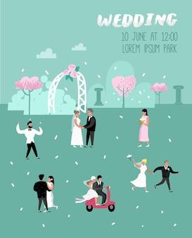 Cartão de pôster de personagens de noivos desenhos animados de pessoas de casamento
