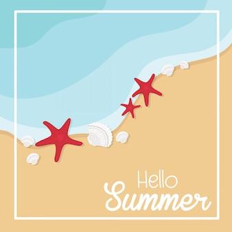 Cartão de praia de férias de verão