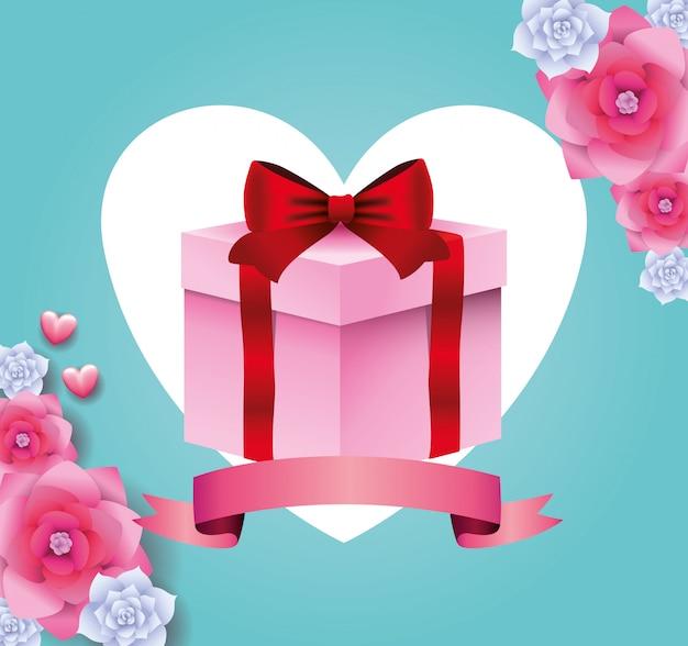 Cartão de presente caixa de presente com banner de fita