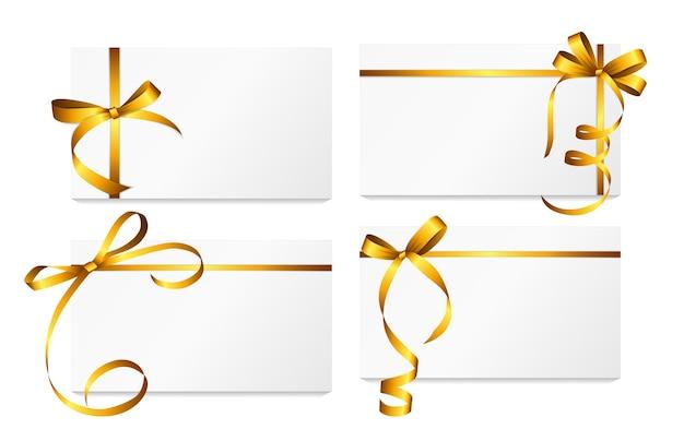 Cartão de presente com fita de ouro e conjunto de arco. ilustração vetorial eps10