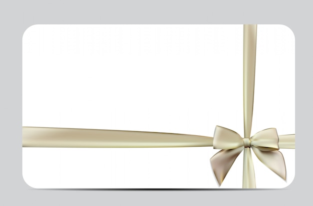 Cartão de presente com fita de seda e laço. ilustração
