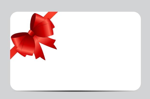 Cartão de presente com fita vermelha e arco. ilustração vetorial eps10