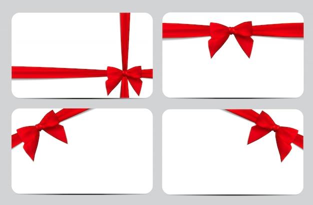 Cartão de presente com fita vermelha e arco. ilustração