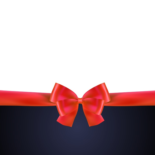 Cartão de presente com fita vermelha e arco.