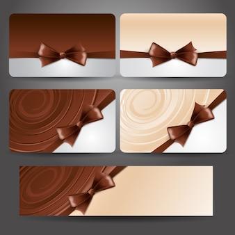 Cartão de presente com laço de chocolate e hidromassagem