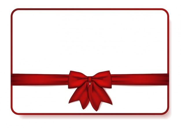 Cartão de presente com laço vermelho e fita.