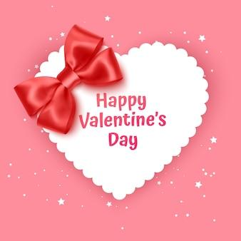 Cartão de presente de dia dos namorados feriado amor ilustração forma de coração com laço vermelho realista
