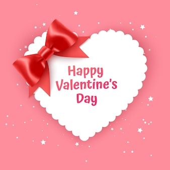 Cartão de presente de dia dos namorados feriado amor ilustração forma de coração com laço vermelho realista Vetor Premium