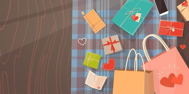 Cartão de presente de dia dos namorados feriado decorado espaço de cópia de espaço de cópia de espaço de cópia de mesa