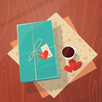 Cartão de presente de dia dos namorados holiday decorated workspace desk top ângulo vista