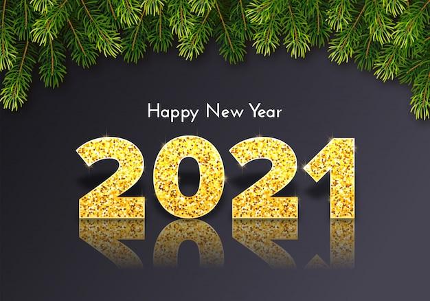 Cartão de presente de época natalícia feliz ano novo 2021.