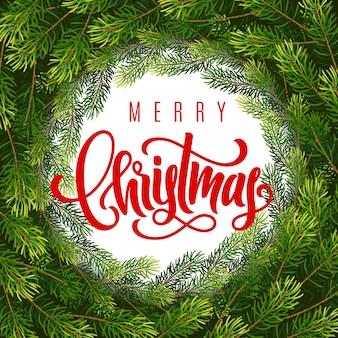 Cartão de presente de feriado com letras de feliz natal e coroa de flores