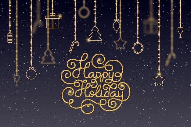 Cartão de presente de feriado com letras de mão feliz feriado