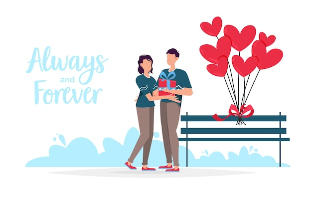 Cartão de presente de namoro romântico de dia dos namorados. os amantes relacionam duas pessoas. casal sentado no banco.