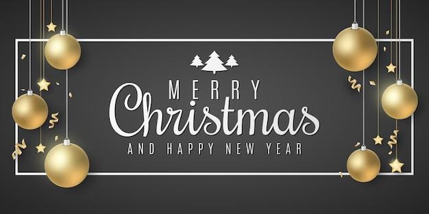 Cartão de presente de natal. bolas e estrelas douradas. serpentina e confetes em um fundo preto. letras elegantes no quadro. cartaz festivo para seu projeto.