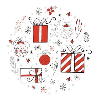 Cartão de presente de natal com presentes, árvore de natal e neve. modelo editável fácil. ilustração bonita para cartão, cartaz, t-shirt, banner.