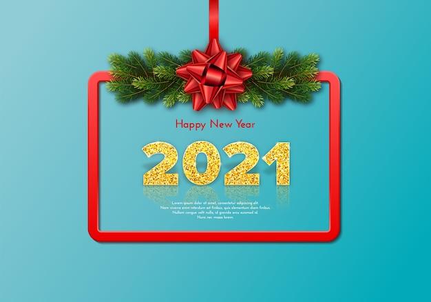 Cartão de presente de natal feliz ano novo de 2021 com guirlanda de galhos de árvores de abeto, moldura vermelha e arco