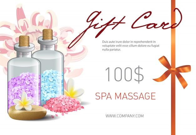 Cartão de presente, letras de massagem spa, fita e acessórios. voucher de oferta para salão de beleza spa
