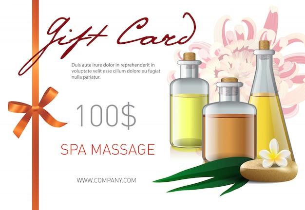 Cartão de presente, spa massagem letras e garrafas com óleo. voucher de oferta para salão de beleza spa