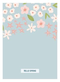 Cartão de primavera boho escandinavo com flores da primavera, ramos floridos, pássaros e borboletas. bom para cartaz, cartão, convite, panfleto, banner, cartaz, folheto. ilustração vetorial.