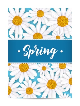 Cartão de primavera com camomila florescendo