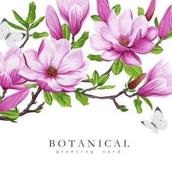 Cartão de primavera com flores de magnólia desabrochando