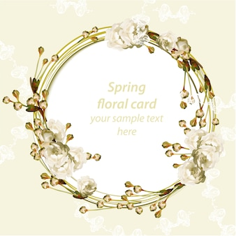 Cartão de primavera com grinalda floral