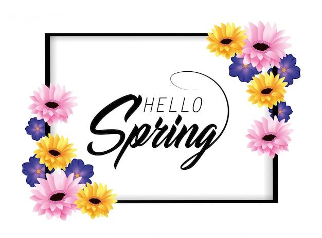 Cartão de primavera com plantas de flores da natureza