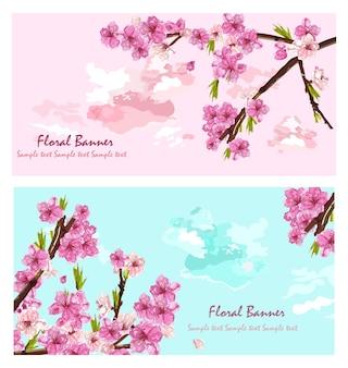 Cartão de primavera de flores de cerejeira