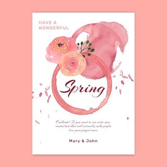 Cartão de primavera em aquarela