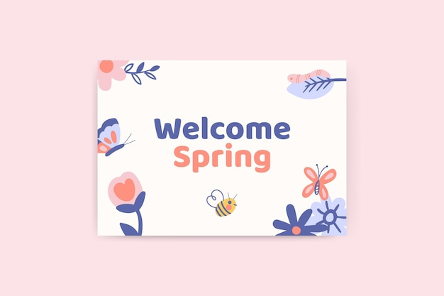 Cartão de primavera floral infantil