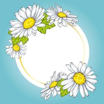 Cartão de primavera ou desenho de banner com flores