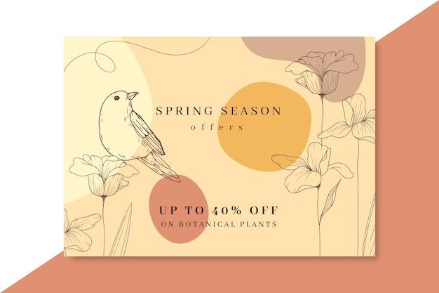 Cartão de primavera realista desenhado à mão