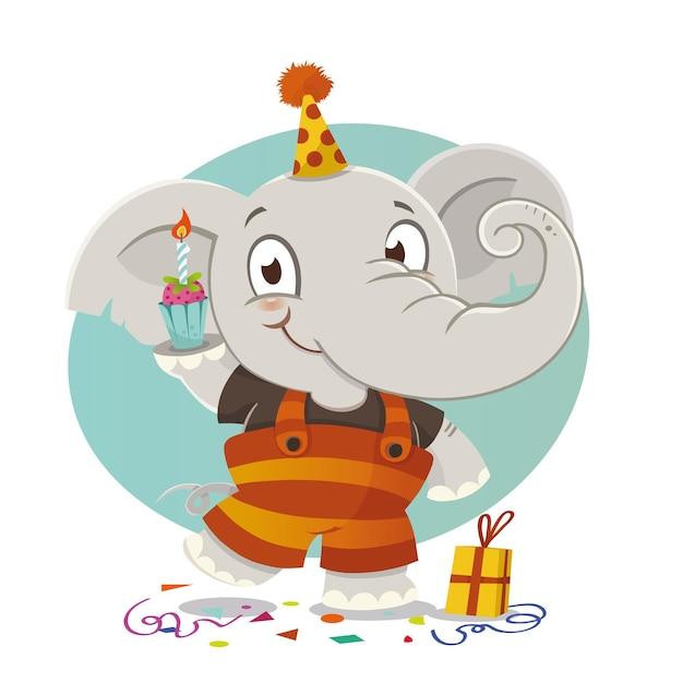 Cartão de primeiro aniversário com ilustração em vetor personagem elefante fofo