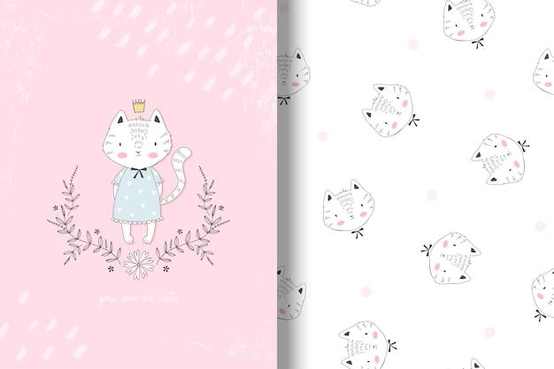 Cartão de princesa gatinho fofo e padrão sem emenda