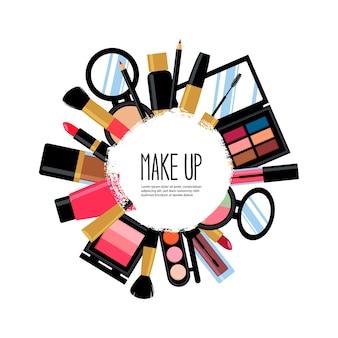 Cartão de produtos de beleza cosméticos. moldura circular