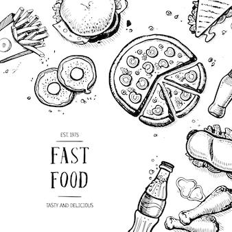 Cartão de publicidade retrô de fast-food