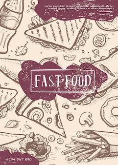 Cartão de publicidade retrô grunge fast-food