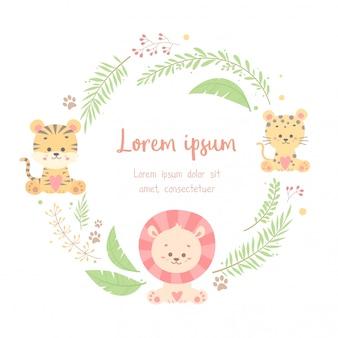 Cartão de quadro animal floral fofo